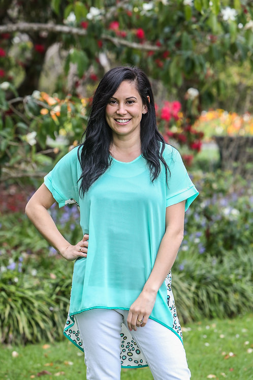 PBT4 - PLEAT BACK TOP - TEAL WITH SPOT