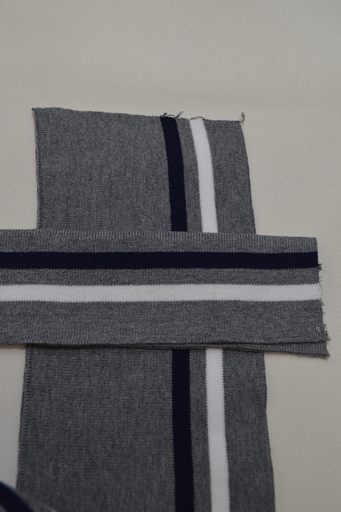 Ribbing - Grey White and Navy Stripe
