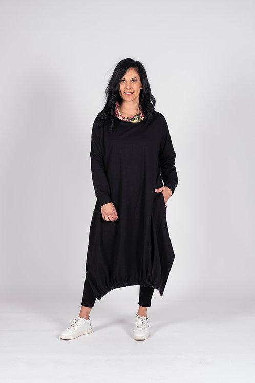 HOODIE DRESS - BLACK AND ROSE - JWF14