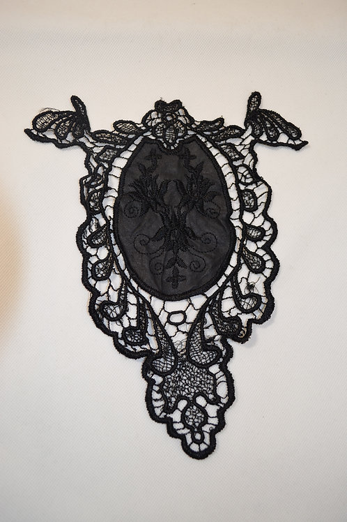 Black Lace and Leather Look Patch