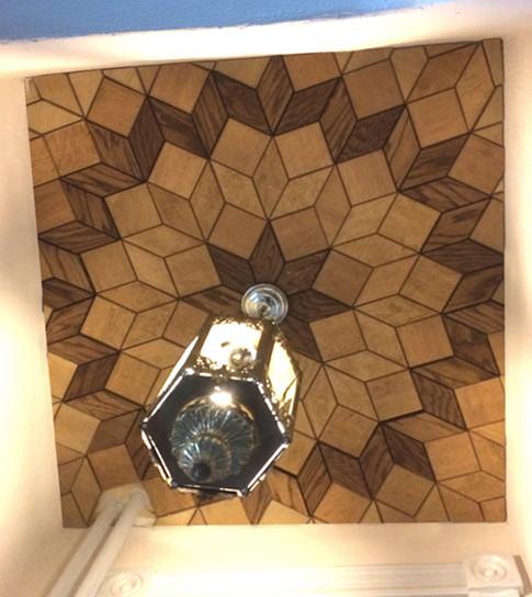 Wood tile ceiling parque