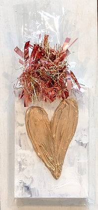 Abstract with Gold Textured Heart on Wood Panel