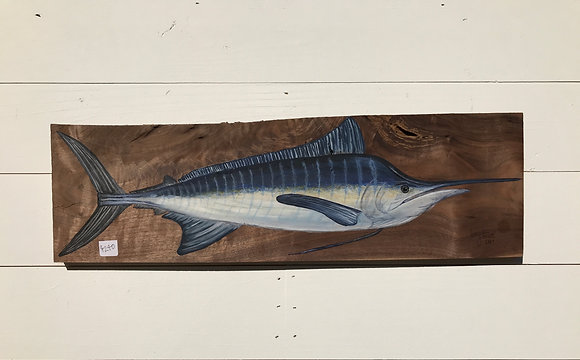 Blue Marlin on Walnut Wood