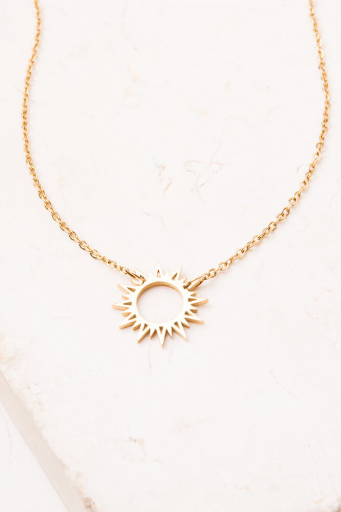 Sun pendant necklace 14k gold plated stainless steel necklace hypoallergenic lead and cadmium free with nickel content less than 100 ppm 17 inches aloadofball Image collections