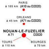 Dessin avec les noms des grandes villes les plus proches de Nouan le Fuzelier et le nombre de km