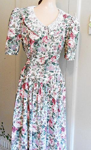 80s Cotton Floral Dress Size 11