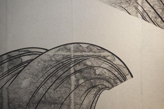 松に滝図(細部)