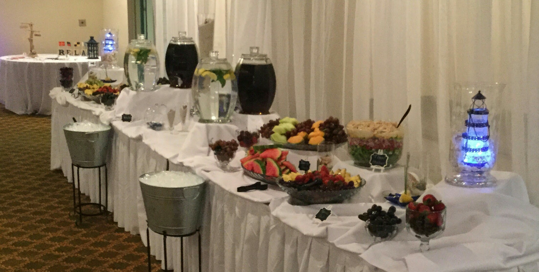 fruit display and drinks