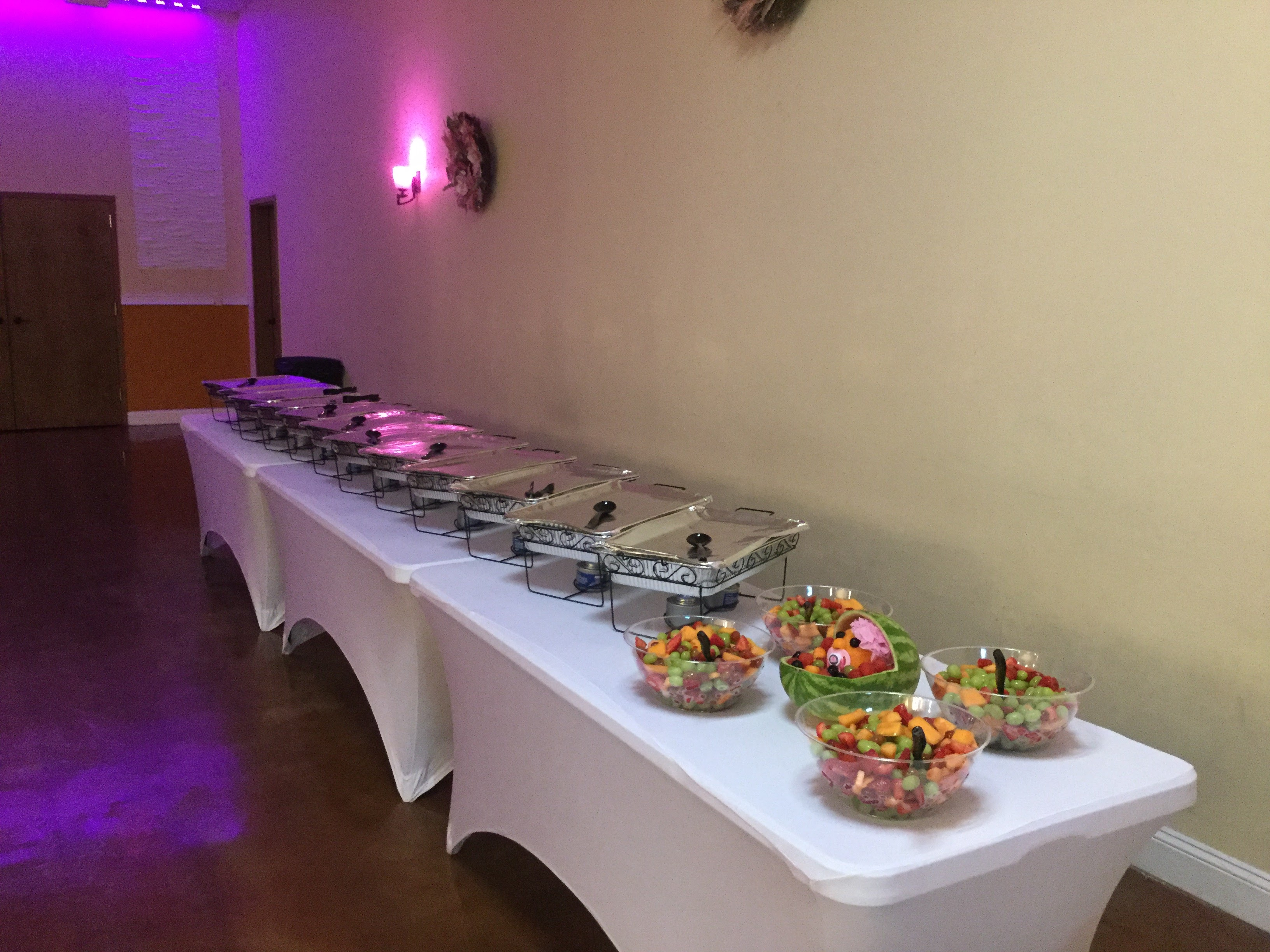 long table of food