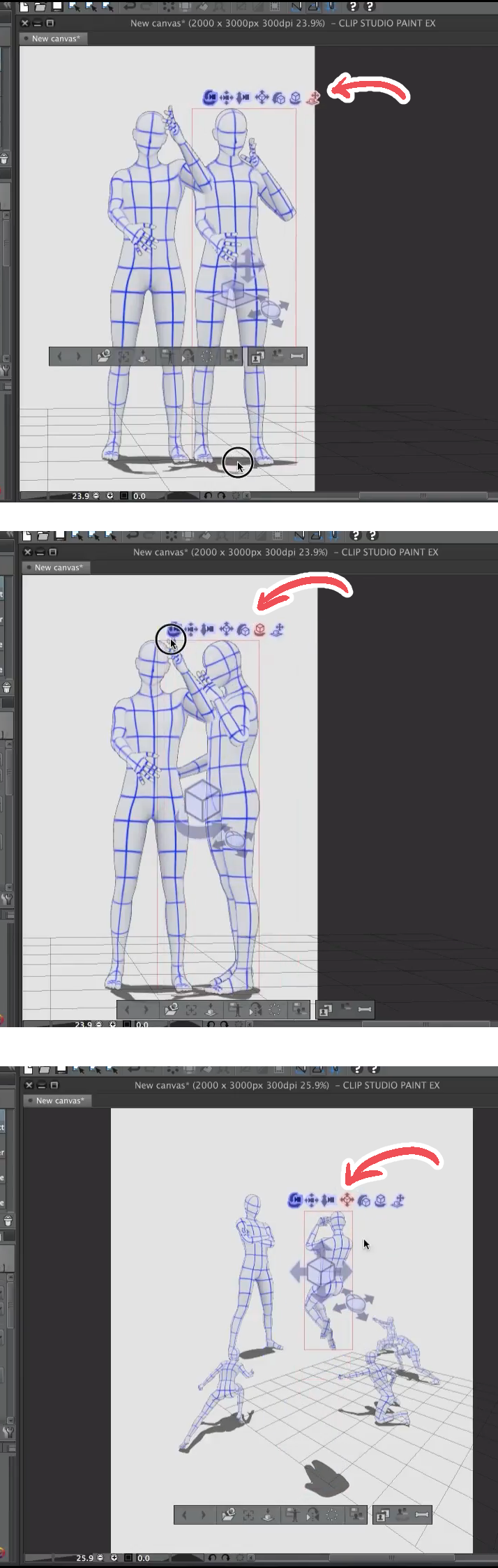 moving 3d models clip studio paint