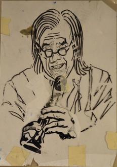 Babenko Pukkelpop 'Dirk De Wachter reading a poem about Andrej Babenko' marker, drawing on mica, 29,5x21cm
