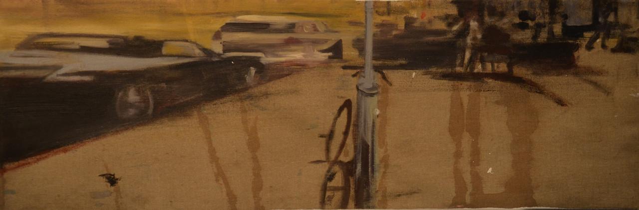 15 _City haze_  oil, spray paint on canv