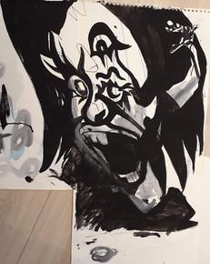 Muse_s Screem ink _ marker on aquarelle paper  50x65cm