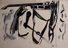 Yoga guitar hands Mauro Pawlowski ink _ marker on aquarelle paper  50x65cm
