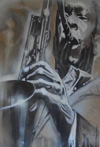 12 _John Coltrane_ oil, spray paint on c