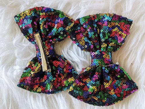 Rainbow Sequin on clip bow
