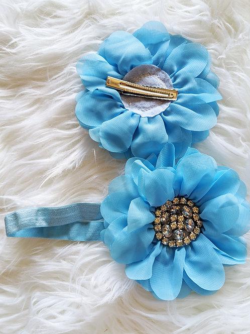 Big Blue flower on band or clip