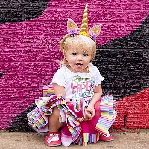 Gold unicorn flower crown