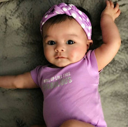 What a doll baby! Gorgeous princess wearing her lavender knotted headband from her subscription of _