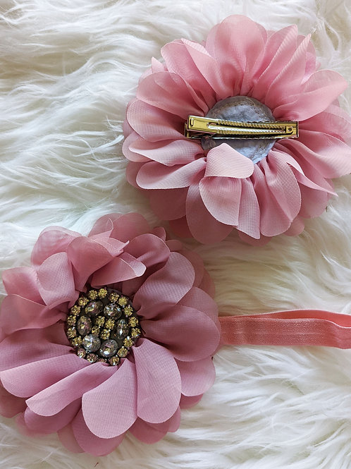 Dusty pink flower on clip or band