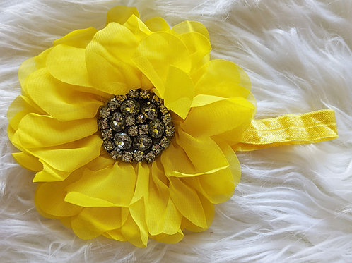 Sunflower 5 inch bow on band