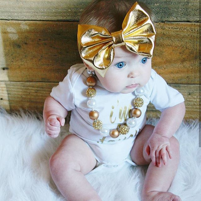 Love all the shiny gold colors for the holidays! Looking so adorable on your little babes!