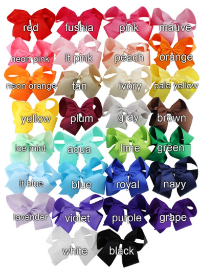 (30) 5 Inch Ribbon Bow on clip complete set