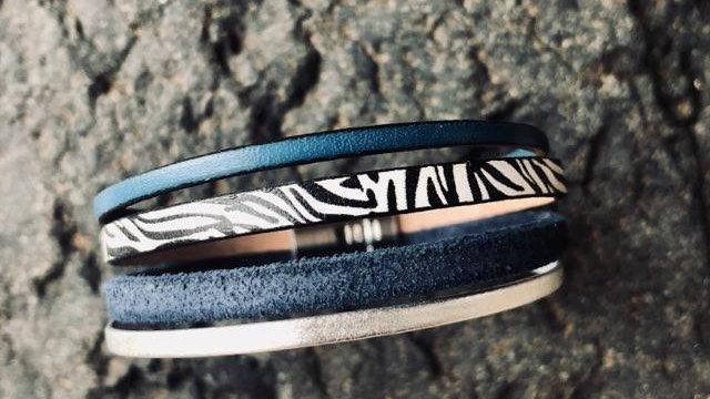 Bracelet cuir zèbre bleu