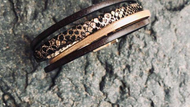 Bracelet cuir or