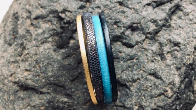 Bracelet cuir turquoise or