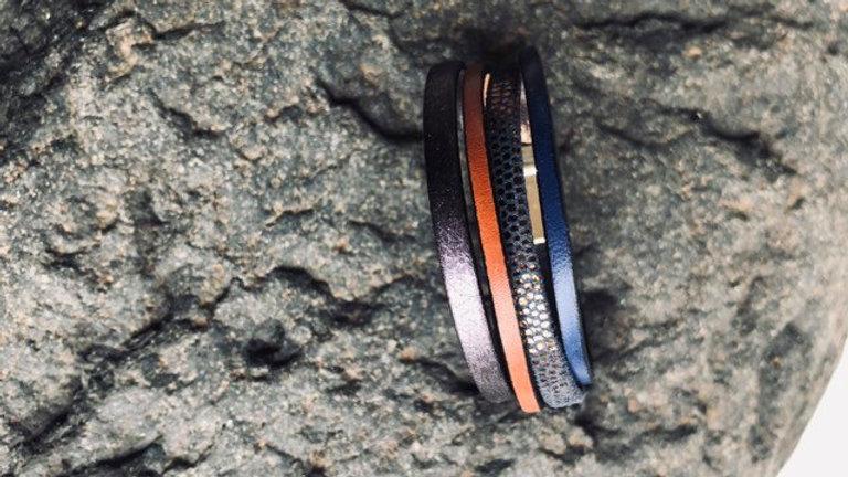 Bracelet cuir cuivre bleu
