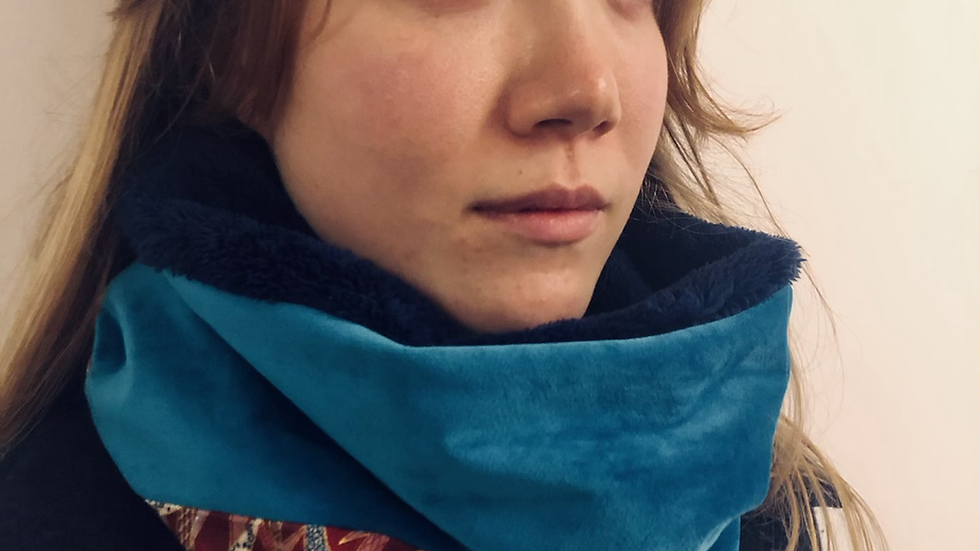 snood bambou rose turquoise