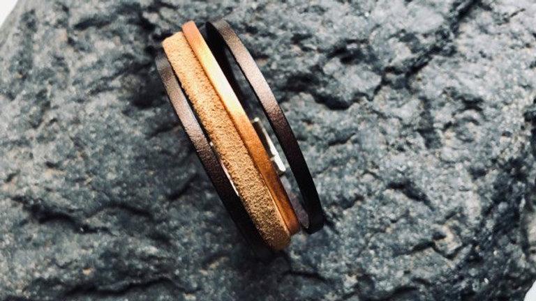 Bracelet cuir chocolat caramel