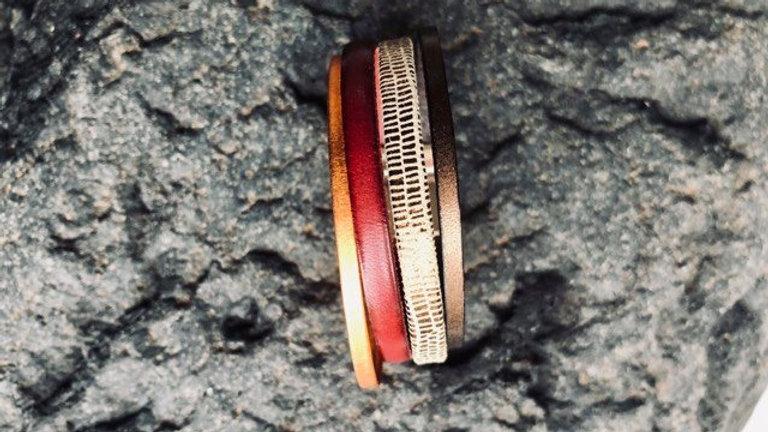 Bracelet cuir rouge bric