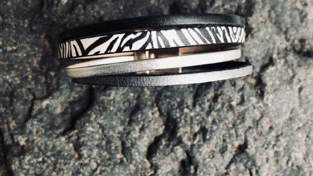 Bracelet cuir zèbre gris