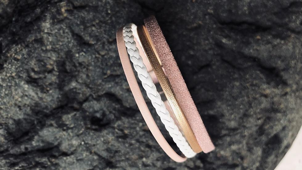 Bracelet cuir rose pâle