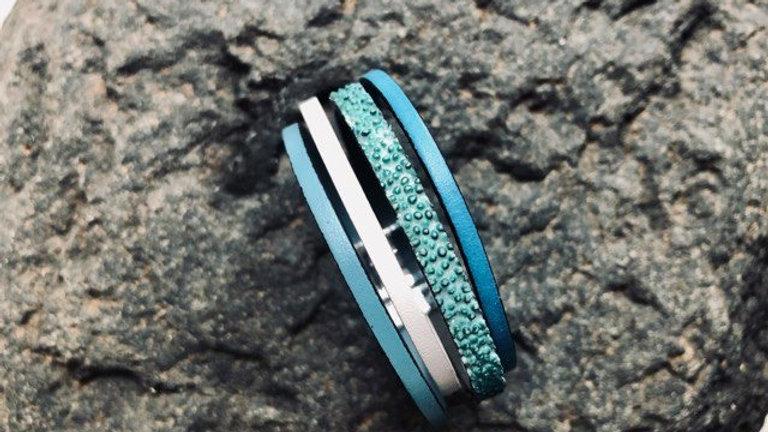 Bracelet cuir turquoise blanc