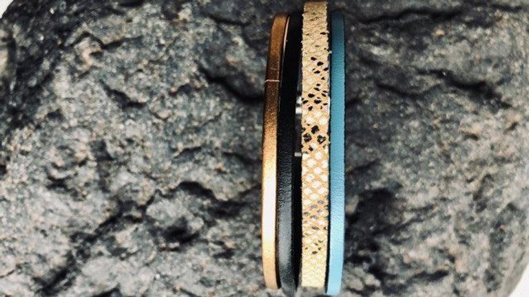 Bracelet cuir serpent bleue