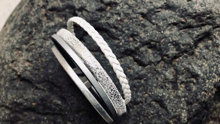 Bracelet cuir argent blanc