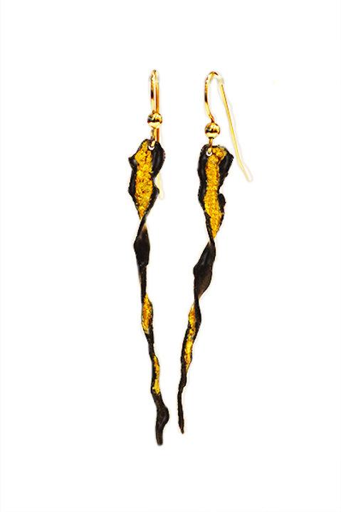 Twisted Black & Gold Drop Earrings