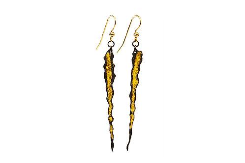 Flat Black & Gold Drop Earrings