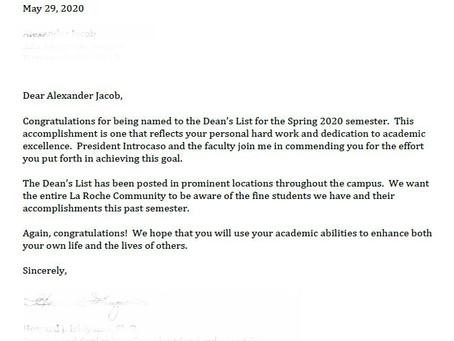 Made it to the La Roche Spring 2020 Dean's List