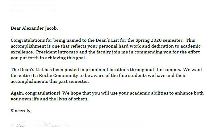 Made it to the La Roche Spring 2020 Dean's List