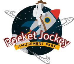 Rocket Jockey Amusement Park Logo