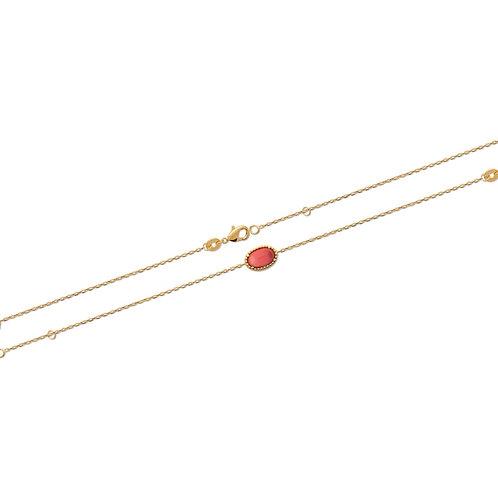 Brățară cu piatră sintetică 16/18cm / Браслет с коралловым синтетическим камнем