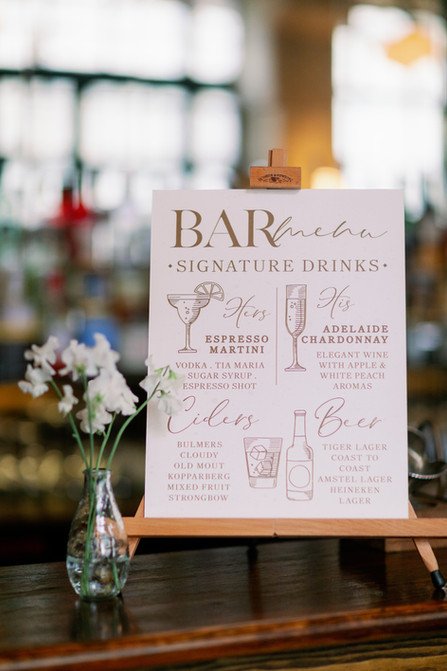 Bar Menu for London Wedding