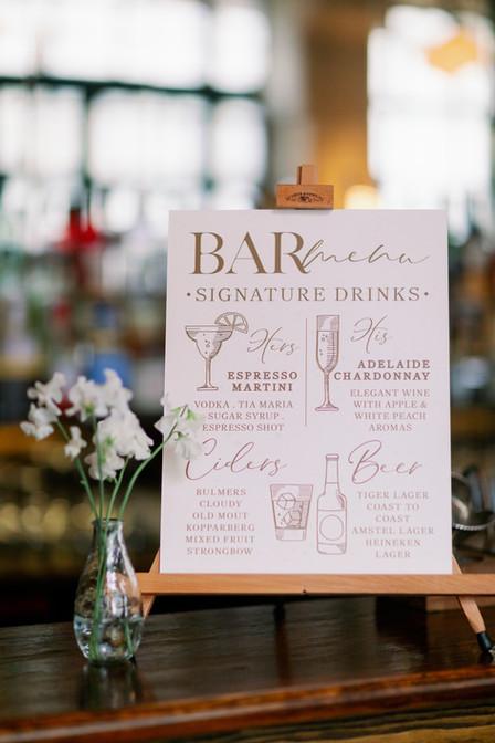 Bar Menu for London Wedding