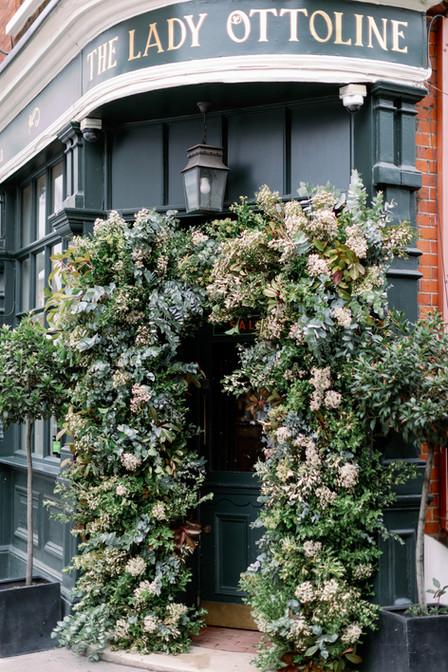 Floral and Foliage Arch at London Pub Wedding
