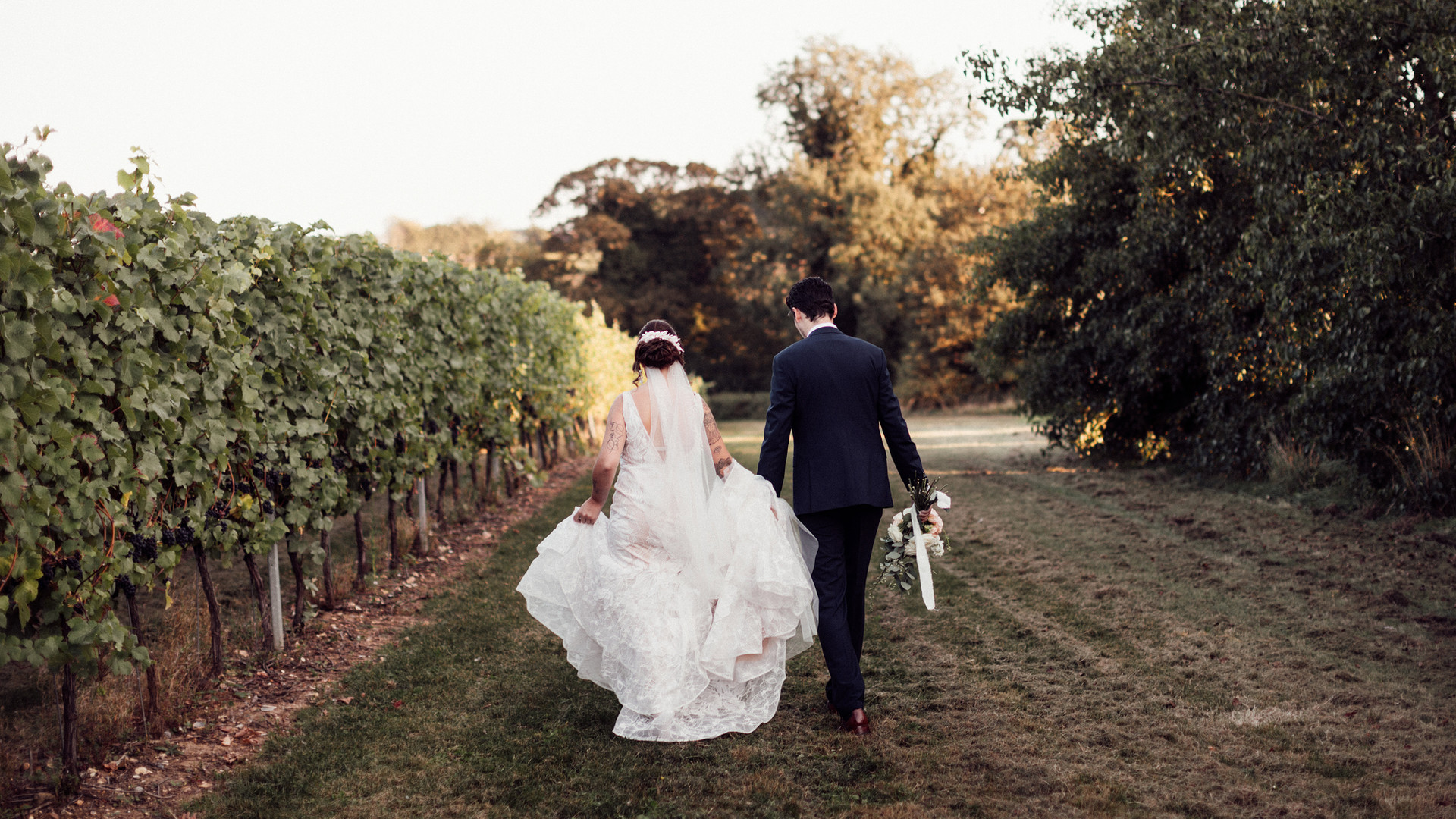 Bride and Groom at Tuffon Hall Vineyard.