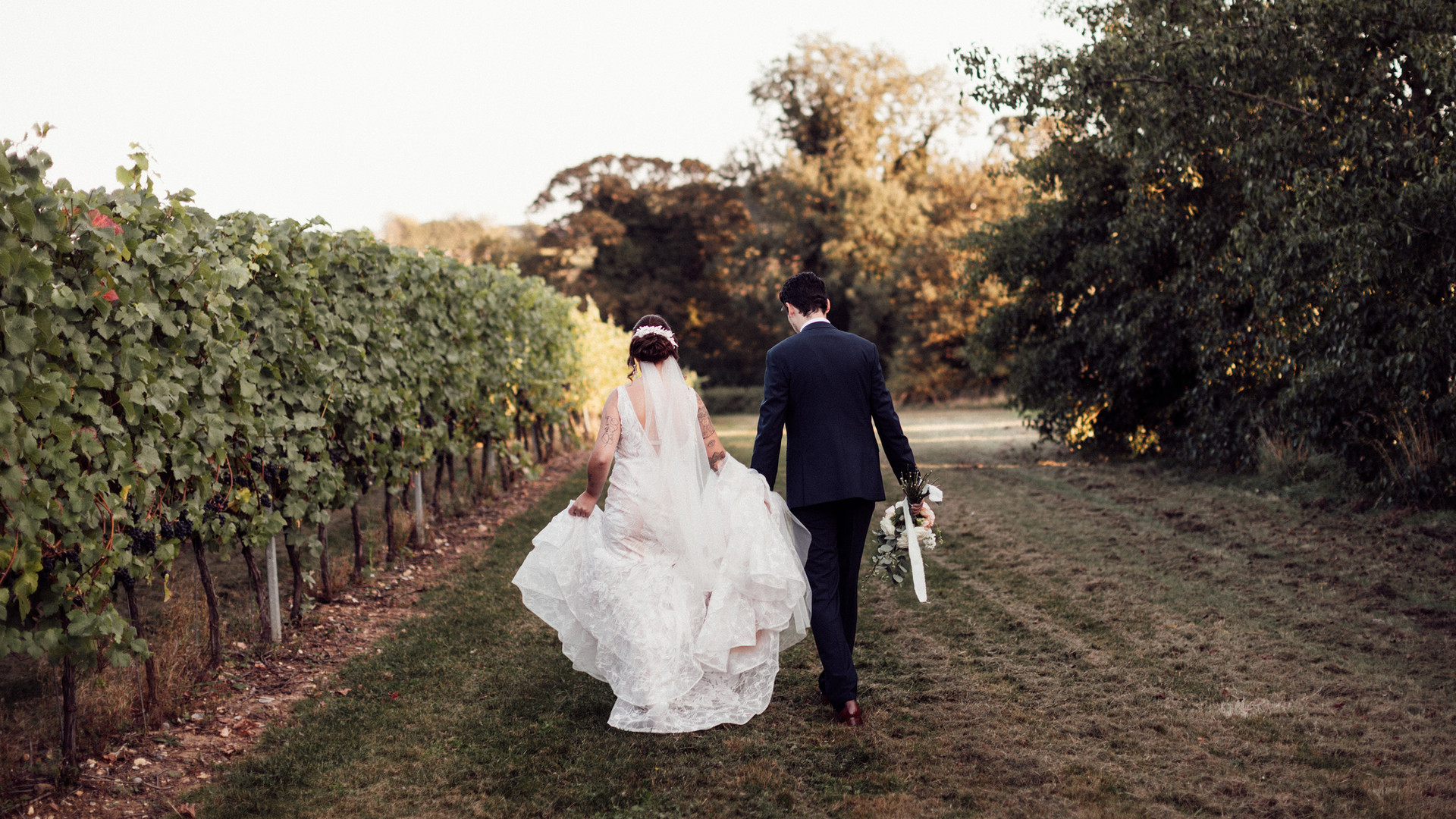 Bride and Groom at Tuffon Hall Vineyard.